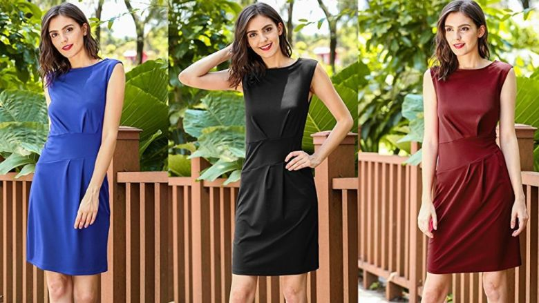 ANGVNS Women's Vintage O-Neck Office Work Business Party Bodycon Pencil Dress at Amazon Women's Clothing store: Use Code : V5586E6D for $5.99 Was $24.99