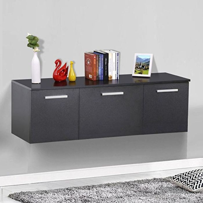 Amazon.com - Topeakmart Wall Mount Buffet Floating Media Storage Cabinet Hanging Desk Hutch 3 Door Dining Room Furniture Black - Buffets & Sideboards