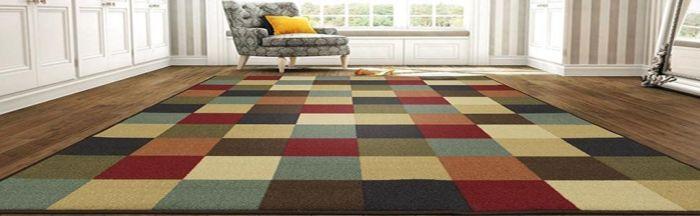 """Amazon.com: Ottomanson Ottohome Collection Contemporary Checkered Design Non-Skid Rubber Backing Modern Area Rug, 5' X 6'6"""", Multicolor: Home & Kitchen"""