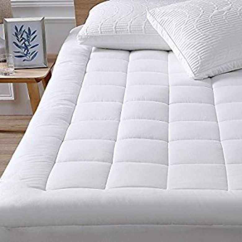 "Amazon.com: Mattress Pad Cover-Cotton Top with Stretches to 18"" Deep Pocket Fits Up to 8""-21"" Cooling White Bed Topper (Down Alternative, King): Home & Kitchen"