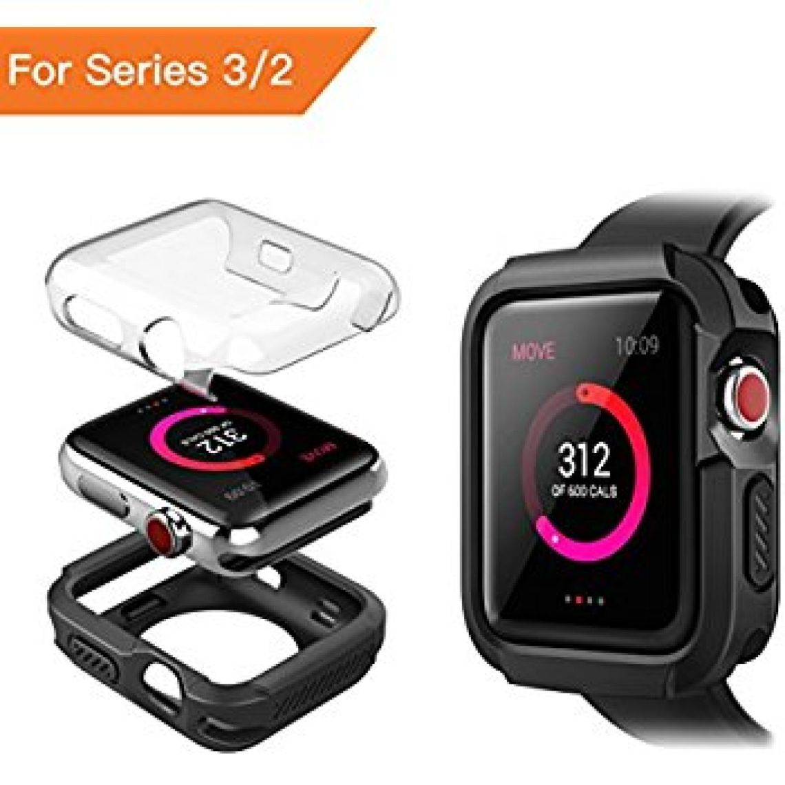 Amazon.com: Apple Watch Series 3 Case, Benuo [Armor Series] Soft TPU Bumper w/Protective HD Clear PC Screen Protector, Ultra Thin, Replacements Cover Case for Apple Watch Series 3/Series 2/Edition/Nike+ 42mm: Cell Phones & Accessories