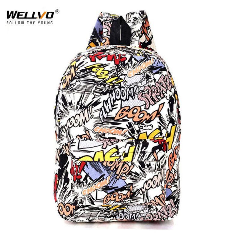 Graffiti Canvas Backpack Students School Bag For Teenage Girls Boys Backpacks Bags Cartoon Printing Rucksack Street Escolar 1065-in Backpacks from Luggage & Bags on Aliexpress.com | Alibaba Group