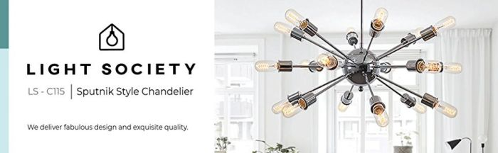 Light Society Sputnik 18-Light Chandelier Pendant, Chrome, Mid Century Modern Industrial Starburst-Style Lighting Fixture (LS-C115-CRM) - - Amazon.com
