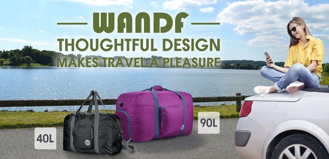 Amazon.com | Wandf Foldable Travel Duffel Bag Luggage Sports Gym Water Resistant Nylon, Black | Sports Duffels