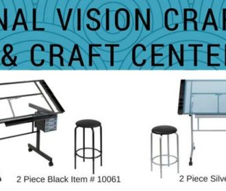 Buy Studio Designs Vision Craft Station in Silver / Blue Glass for $115.59