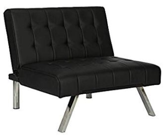 Buy Chair with Split-Back and Chrome Legs, Black Faux Leather for $70.42 (Reg : $116.80)
