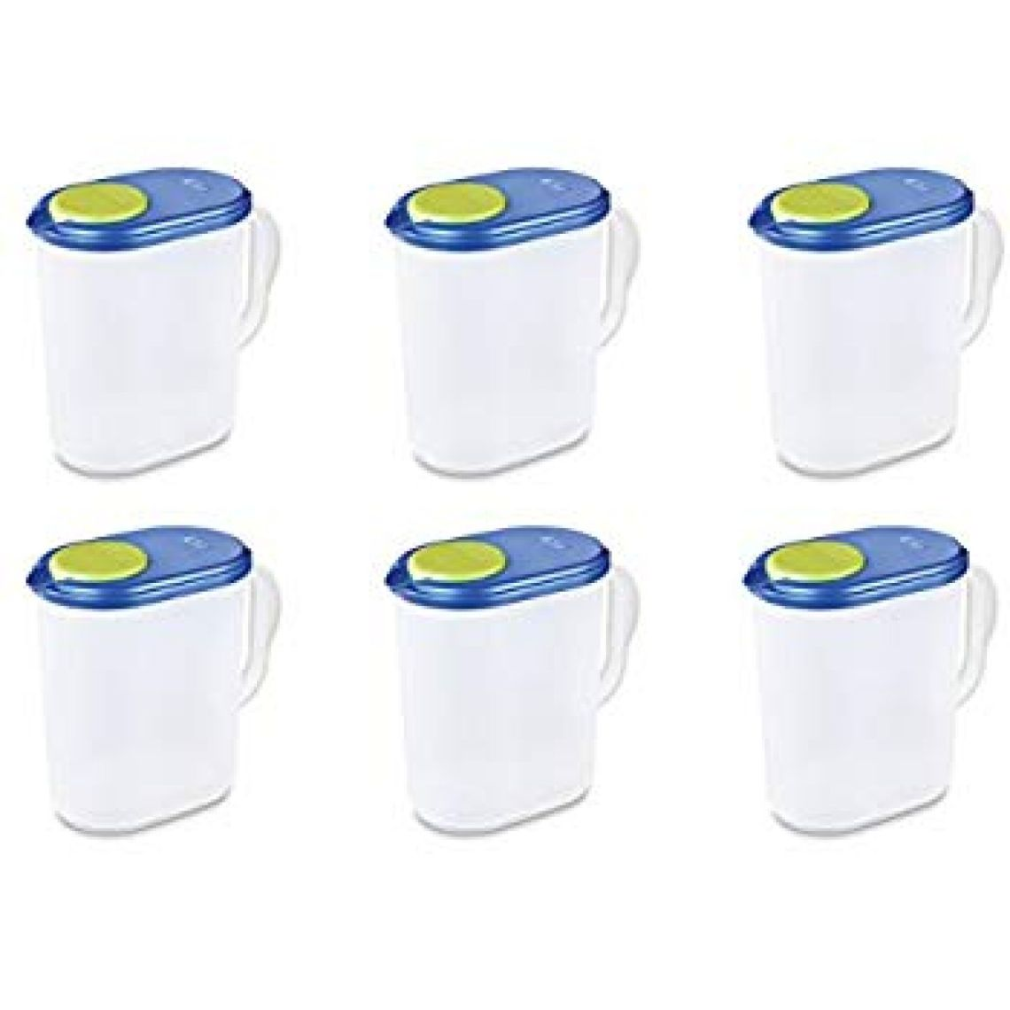 Amazon.com | Sterilite 04904106 1 Gallon Pitcher, Blue Sky Lid w/ Lime Tab & Clear Base, 6-Pack: Carafes & Pitchers