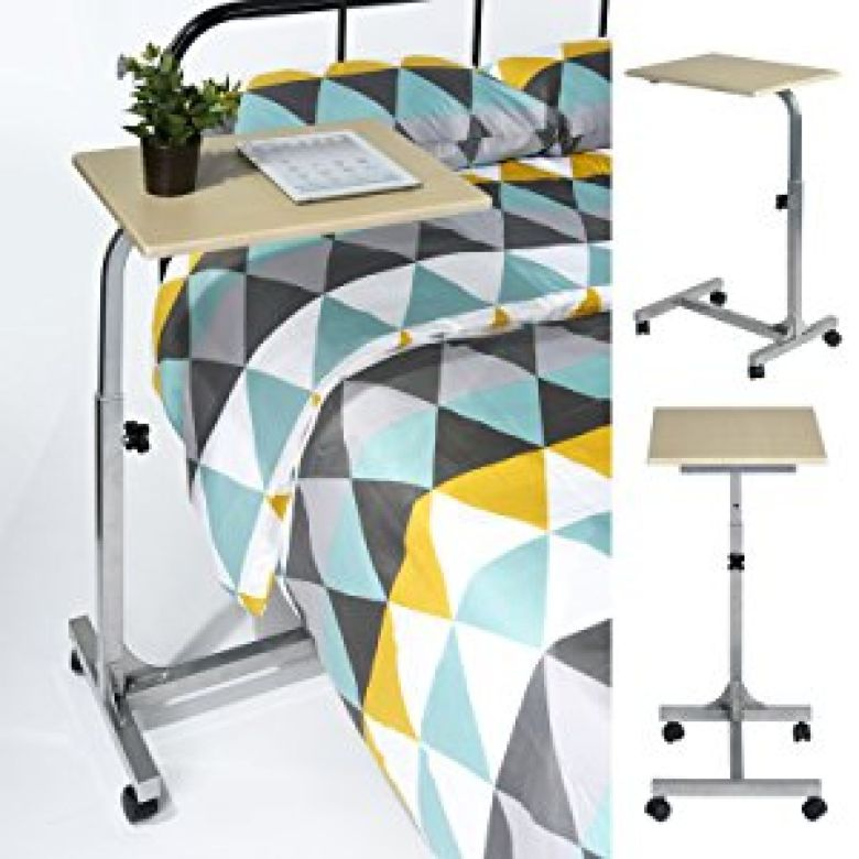 Amazon.com: Coavas Laptop Desk Medical Adjustable Height Overbed Table Multi-purpose Portable Computer Desk Bed Sofa Side Table with Wheels - Beech: Home & Kitchen