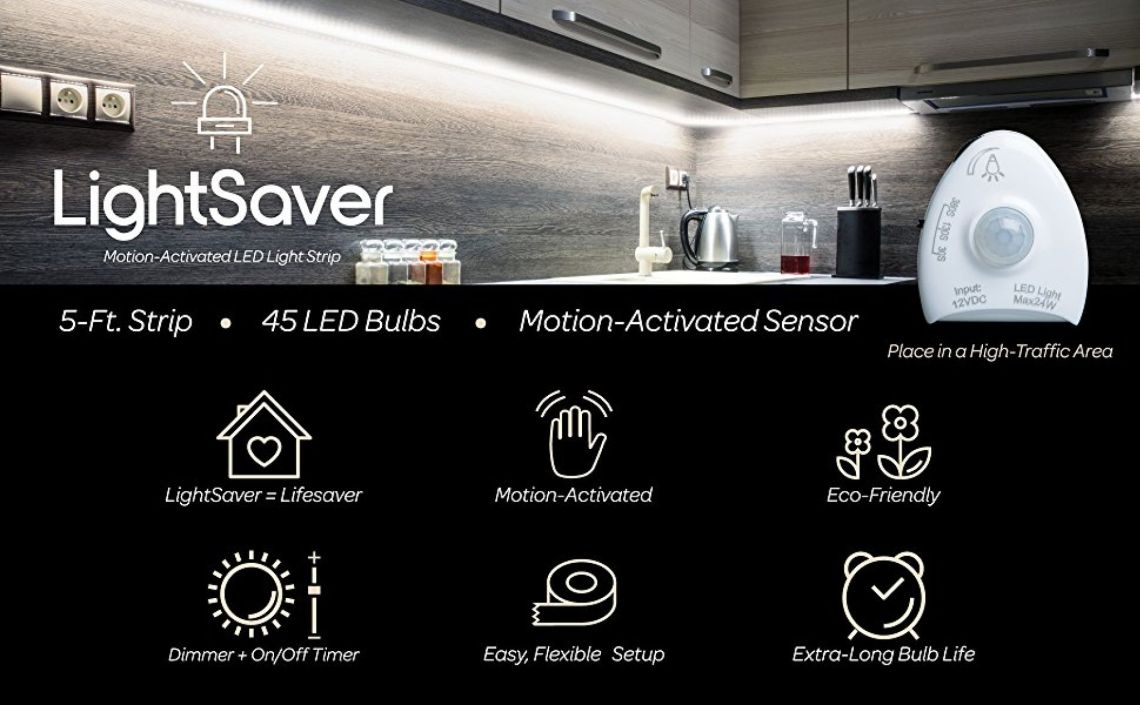 """Amazon.com: Livin' Well Motion Sensor Light LED Strip – """"LightSaver"""" 5 Ft White LED Strip Lights w/45 Dimmable LED Light Strip Bulbs and LED Rope Lights Timer: Home Improvement"""