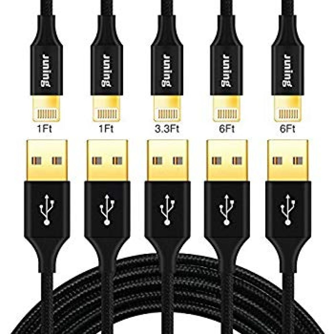 Amazon.com: JUNING Lightning Cable Nylon Braided iPhone Charger Cord 5Pack 2x1FT/1x3.3FT/2x6FT Fast Charging, Lightning Connector to Data Syncing, Compatible with iPhone X/8/8P/7/7P/6P/6s/6s+/5/5s/SE, iPad(Black): Computers & Accessories