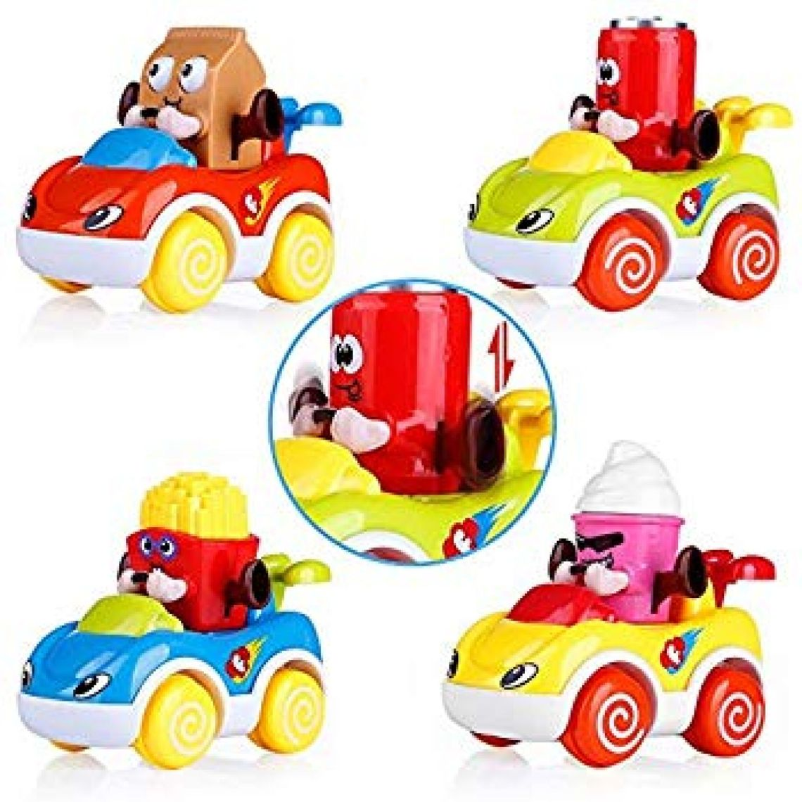 Amazon.com: VATOS Friction Powered Push and Go Cartoon Car Toys Play Set, Toddler Toys Car Set of 4, Early Educational Toys Best Gifts for 1, 2 Years Old Boys and Girls: Toys & Games