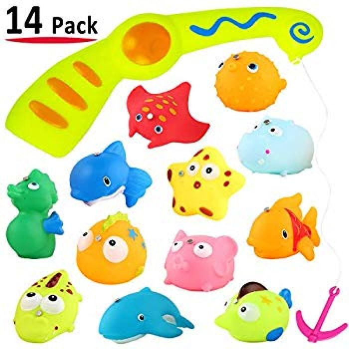 Amazon.com: Children Kids Baby Fishing Bath Toy, Magnetic Squirt Water Toys Fishing Game Set 14 Pcs with Organizer Bag, For Toddler Boy Girl, Floating in Bathtub Bathroom Swimming Pool Bath Time Party Favors Gift: Toys & Games