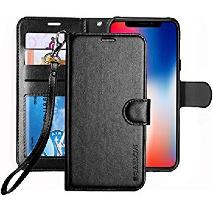 Amazon.com: iPhone X Case, ERAGLOW Luxury PU Leather Wallet Flip Protective Case Cover with Card Slots and kicktand for 5.8 inches iPhone X Edition 2017 (Black): Cell Phones & Accessories