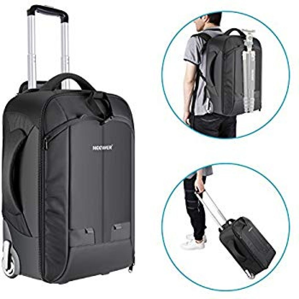 Amazon.com: Neewer 2-in-1 Convertible Wheeled Camera Backpack Luggage Trolley Case with Double Bar, Anti-shock Detachable Padded Compartment for SLR/DSLR Cameras, Tripod, Lens and Other Accessories (Black/Green): Electronics
