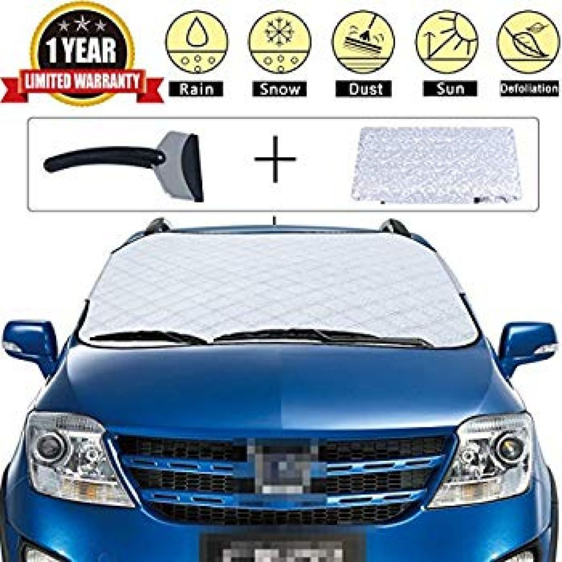 Amazon.com: TPYQdirect Car Snow Cover Premium Windshield Universal Windshield Cover for Ice and Snow & Sun Shade Protector for All Vehicles with Snow Scraper (M): Home & Kitchen