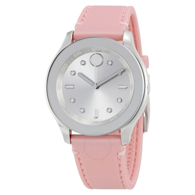 Movado Bold Silver Dial Pink Silicone Ladies Watch 3600414 - Bold - Movado - Watches - Jomashop