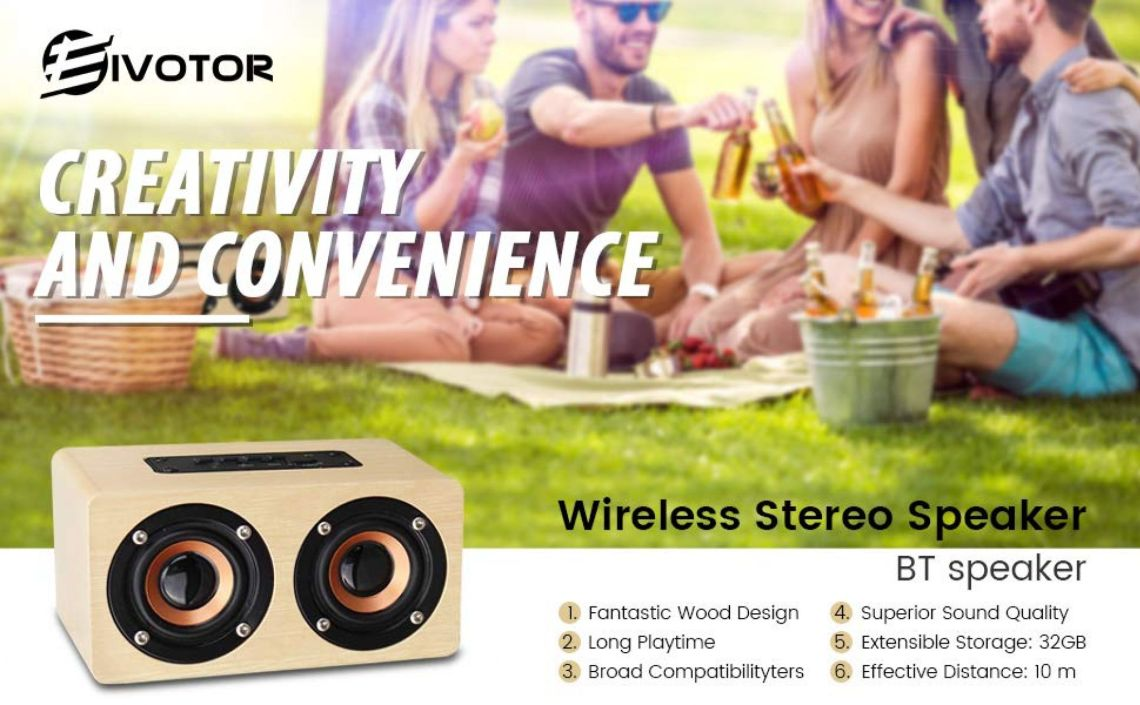 Amazon.com: Portable Stereo Speaker, EIVOTOR 10W Wireless Home Speaker with Super Bass - Bamboo Wood HiFi Sound Box Subwoofers with Enhanced Bass Resonator Support TF Card Built-in Mic and Battery: Home Audio & Theater