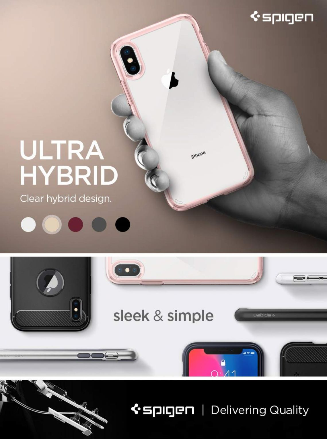 Amazon.com: Spigen Ultra Hybrid Designed for Apple iPhone XS Case (2018) / Designed for Apple iPhone X Case (2017) - Rose Crystal: Cell Phones & Accessories