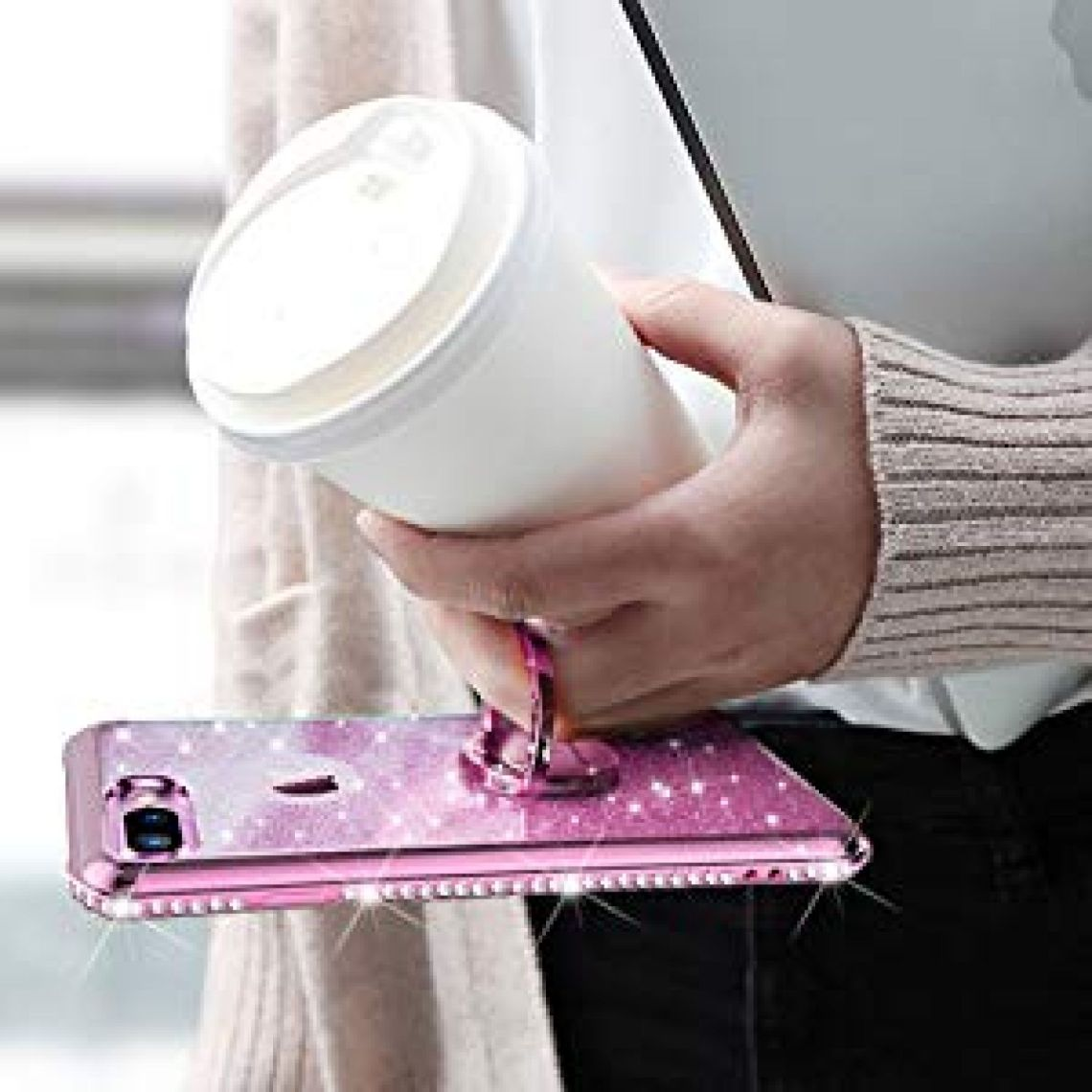 Amazon.com: OCYCLONE Case for iPhone 8 Plus/iPhone 7 Plus, Cute for Girls Glitter Bling Diamond Rhinestone Bumper with Ring Kickstand Phone Case for iPhone 8 Plus/iPhone 7 Plus for Women Girl - Sakura Pink: Cell Phones & Accessories
