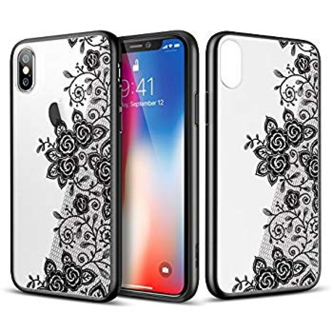 Amazon.com: ESR Case Compatible for iPhone X/XS, Slim Fit Floral Totem Case [Anti Scratch PC Back with Soft Bumper][Supports Wireless Charging] Protective Case for iPhone 5.8(Black Rose): Electronics