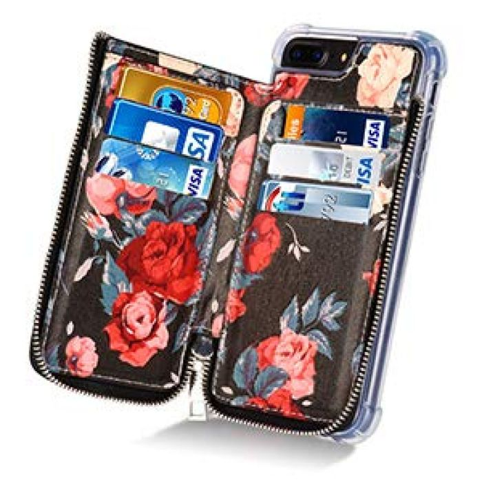 "Amazon.com: iPhone 7 Plus Wallet Case,iPhone 8 Plus Wallet Case,MISSCASE Premium PU Leather Card Holder Case with Strap,Zipper Pockets,Flower Pattern Cover for iPhone 7 Plus/ 8 Plus / 6 Plus 5.5"" Red: Cell Phones & Accessories"
