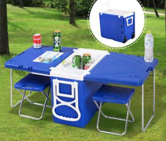 Buy Multi Function Cooler Camping Outdoor w/ Table & 2 Chairs for $62.99