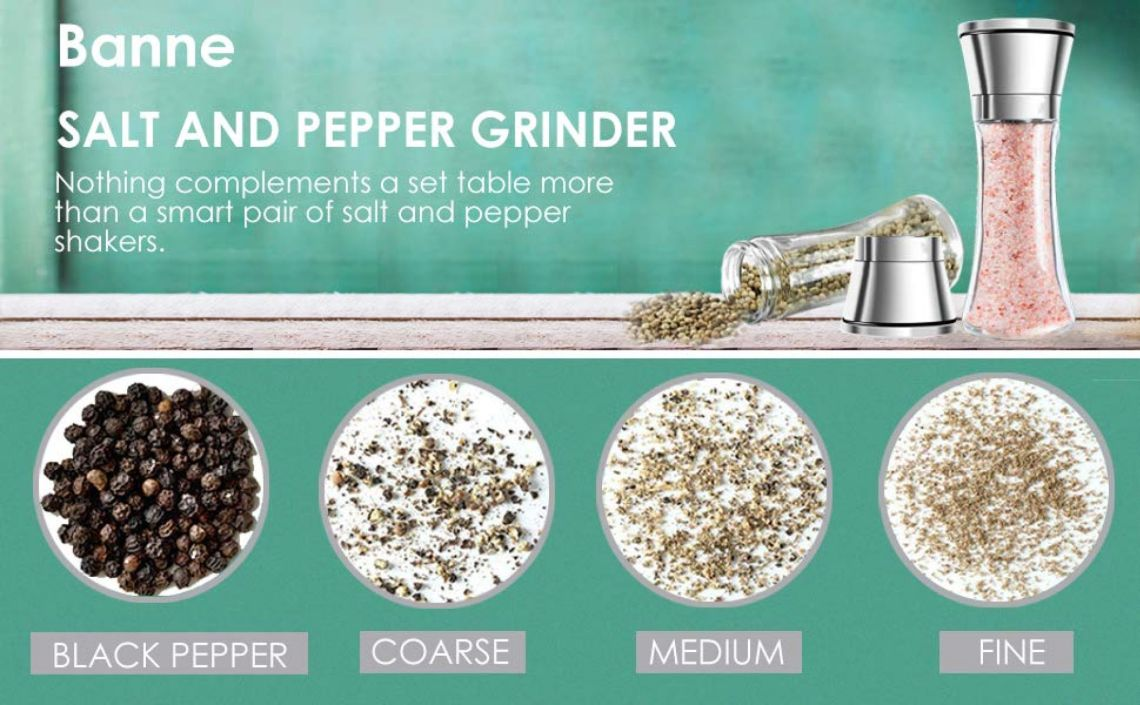 Amazon.com: Salt and Pepper Grinder Set, Banne Premium Stainless Steel Manual Salt and Pepper Mill, Salt and Pepper Shakers with Adjustable Coarseness (Pack of 2) (2 Pack): Kitchen & Dining