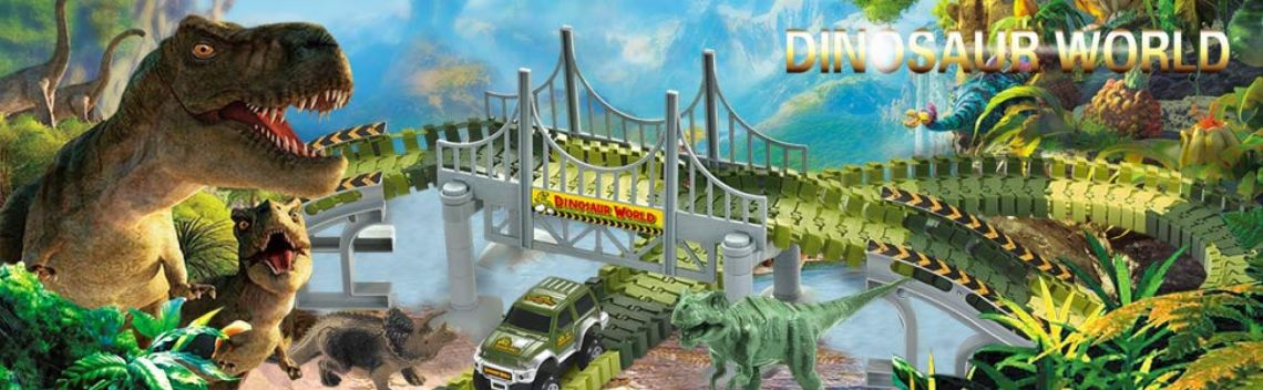 Amazon.com: AUUGUU Dinosaur Race Car Track Train Toys, Perfect Birthday for 3 4 5 6 7 Year Old Boys Kids, Jurassic World Dinosaur Park Playset with 142 Pieces Tracks, 2 Dinosaurs and 2 Vehicle: Toys & Games