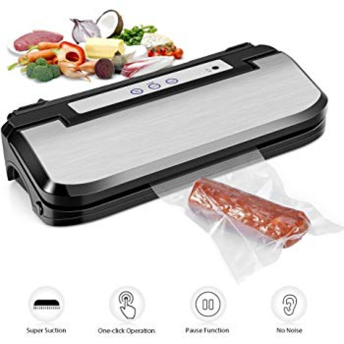 Amazon.com: Vacuum Sealer Machine, Upgraded Ymiko Vacuum Sealer Sous Vide Machine Automatic Vacuum Sealing System, 8 Times Preservation with Manual Pause Function for Vacuum and Seal /Seal, with 15 Bags: Kitchen & Dining