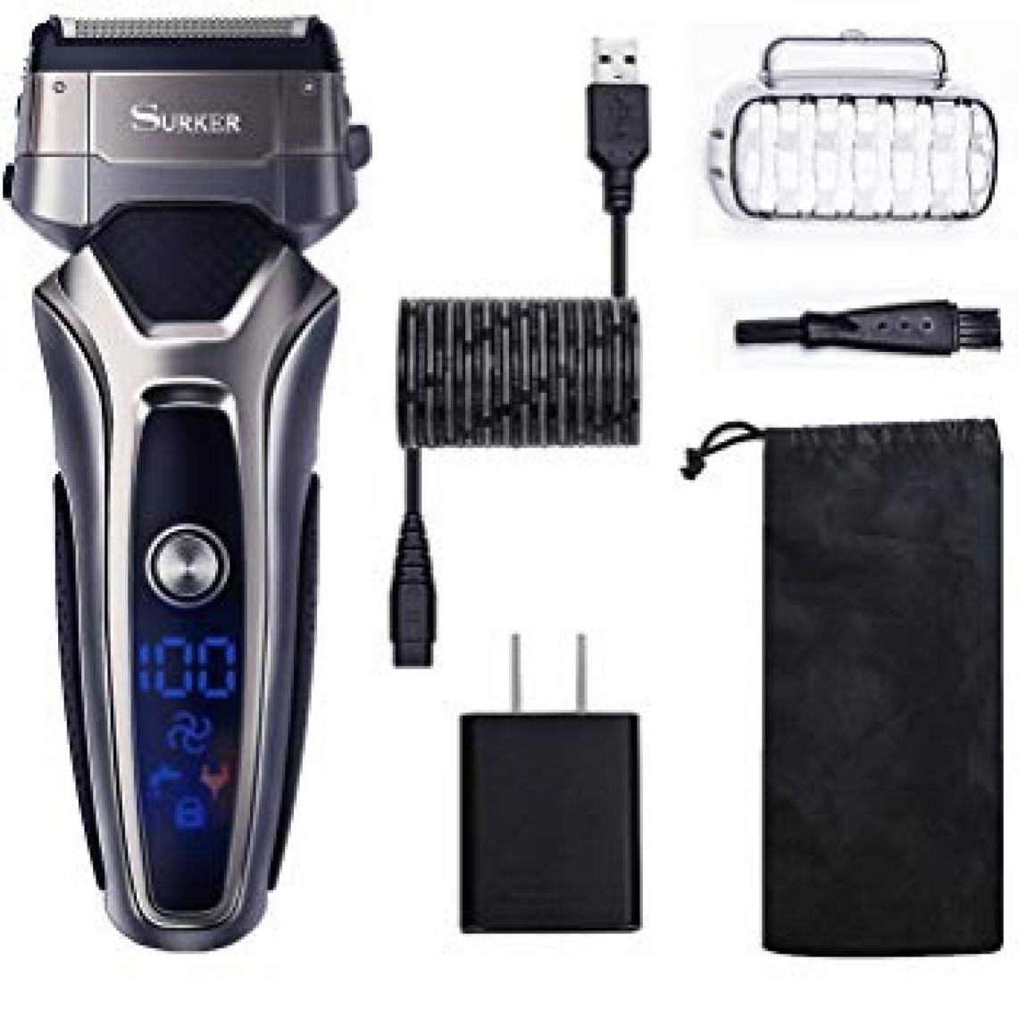 Amazon.com: SURKER Men's Electric Foil Shaver, Cordless Electric Shaver Razor Wet & Dry Rechargeable Beard Trimmer with LCD Display Electric Shaver for Men - Waterproof Best Gift for Husband, Dad and Boyfriend: Beauty
