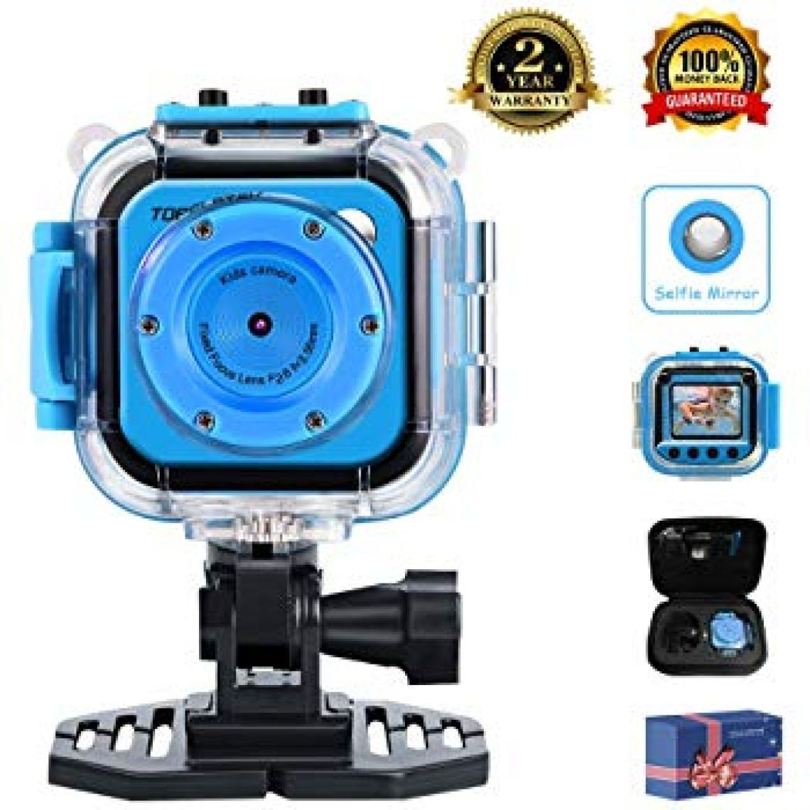 "Amazon.com: TOPELOTEK Kids Digital Action Camera Waterproof Mini Camera 1.77""LCD Screen DV Creative Toy for Children's Day Birthday Gift (Blue): Toys & Games"
