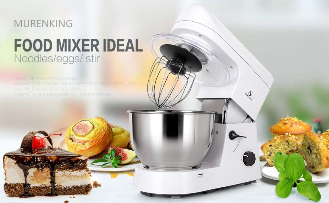 Amazon.com: MURENKING Stand Mixer SM168 650W 5-Qt 6-Speed Tilt-Head Kitchen Electric Food Mixer with Accessories (White): Kitchen & Dining