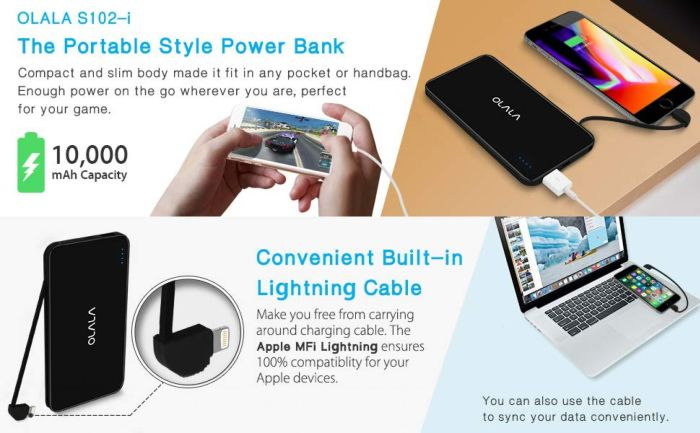 Amazon.com: Built-in [Apple MFi Certified] Lightning Cable OLALA S102-i 10000mAh Portable Charger Ultra Compact Power Bank for iPhone, Samsung and More (Black): Cell Phones & Accessories