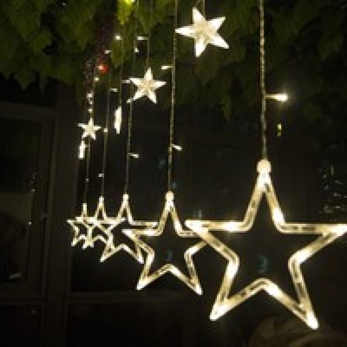 wish | 12 LEDs Star String Light Decoration Lamp for Wedding Party US/EU PLUG