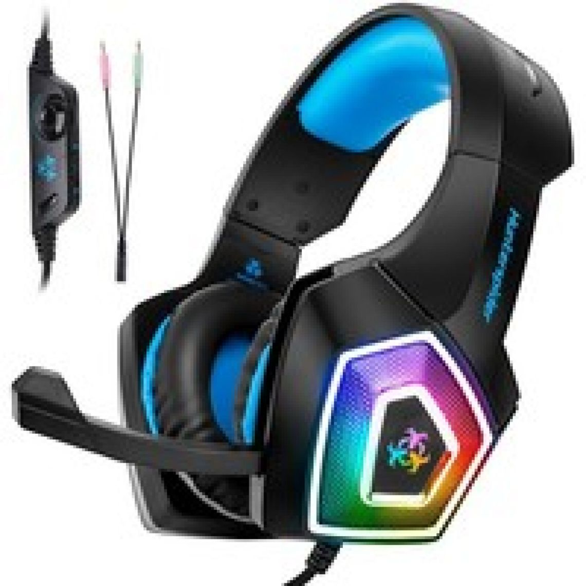 Wish | Gaming Headset with Mic for Xbox One PS4 PC Nintendo Switch Tablet Smartphone, Headphones Stereo Over Ear Bass 3.5mm Microphone Noise Canceling 7 LED Light Soft Memory Earmuffs