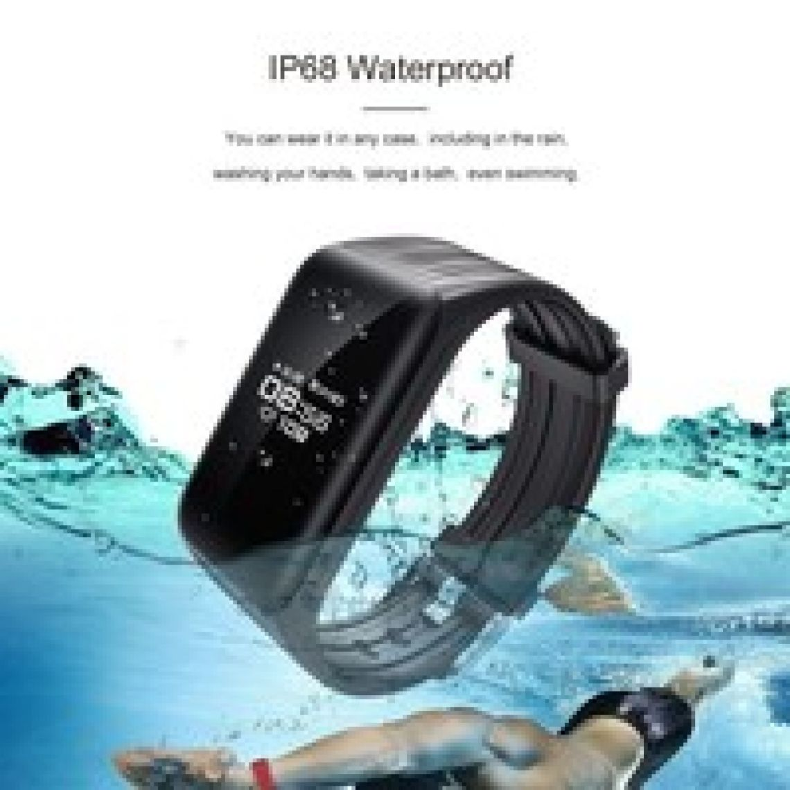 wish | IP68 Waterproof G-Sensor Smart Bracelet Heart Rate Fitness Tracker Real-Time Heart Rate Monitor IP68 Waterproof Pedometer Sleep Monitor Call Message Reminder For Android IOS