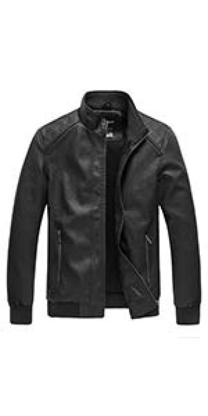 Amazon.com: Wantdo Men's Stand Collar PU Leather Jacket Outwear US Small Black: Clothing