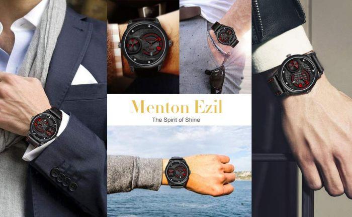 Amazon.com: Menton Ezil Men's Sport Watech Dual Time Leather Strap Analog Quartz Waterproof Watches Auto Calendar Wrist Watch, Gift for Men: Watches
