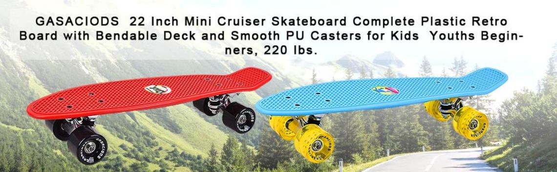 Amazon.com : GASACIODS 22 Inch Mini Cruiser Skateboard, Complete Plastic Retro Board with Bendable Deck and Smooth PU Casters/Speed Bearing for Kids Youths Beginners, 220 Ibs(RED) : Sports & Outdoors