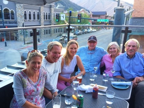 Dinner with friends on the rooftop deck in the center of Ketchum.