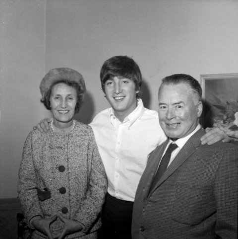 John Lennon with his second cousins, Mr and Mrs F Parker, from Levin, June 23, 1964.