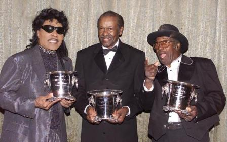 (l-r) Little Richard, Chuck Berry and Bo Diddley, lifetime achievement honorees at the BMI Pop Music Awards dinner in Beverly Hills, May 2002.