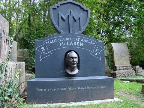 Former Sex Pistols manager Malcolm McLaren—Highgate Cemetery, London
