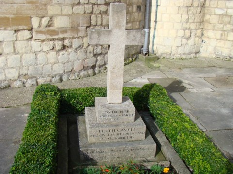 English WW1 nurse Edith Cavell, executed by Germans—Norwich Cathedral.
