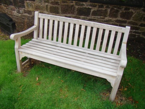 Stuart Sutcliffe memorial bench—Huyton Parish Church (St. Michael), Merseyside.