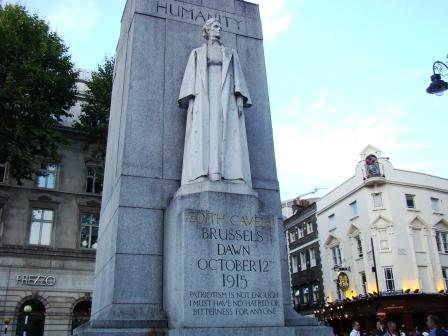 A memorial to Edith Cavell, outside the National Portrait Gallery in London