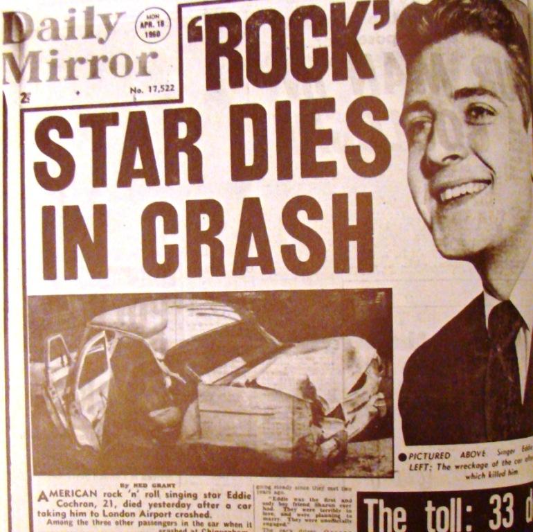 London's Daily Mirror announces the death of Eddie Cochran, April 18, 1960.