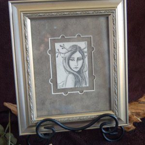 Original framed pencil drawing.