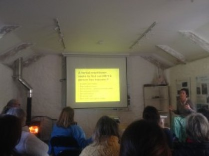 Deanne Greenwood presenting her free talk about herbal medicine which was held at the Lizard National Trust education room in Poltesco Cornwall. Deanne practices in Helston, Falmouth and Penzance in Cornwall and Skype