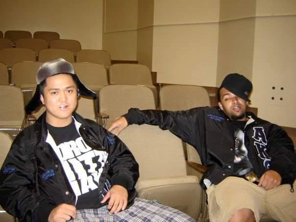 Us in College waiting to rap on stage